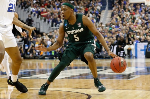 Mar 31, 2019; Washington, DC, USA; Michigan State Spartans guard Cassius Winston (5) dribbles the ball against the Duke Blue Devils in the championship game of the east regional of the 2019 NCAA Tournament at Capital One Arena. Mandatory Credit: Geoff Burke-USA TODAY Sports