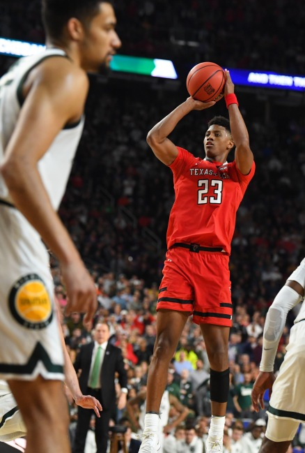 Apr 6, 2019; Minneapolis, MN, USA; Texas Tech Red Raiders guard Jarrett Culver (23) hits a three-point shot against the Michigan State Spartans in the semifinals of the 2019 men's Final Four at US Bank Stadium. Mandatory Credit: Robert Deutsch-USA TODAY Sports